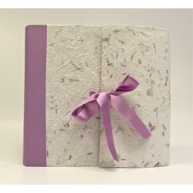 Photo album with flap made with provence lilac paper, canvas back lilac and purple satin ribbon
