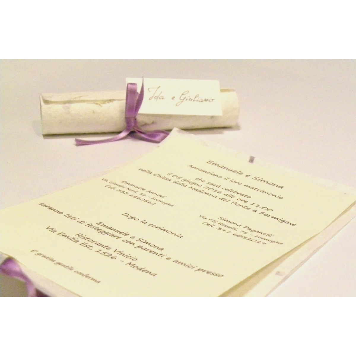 ... Wedding Invitation, Papyrus Paper Purple Provence, Ribbons Of Organza  And Satin. Silk Paper ...