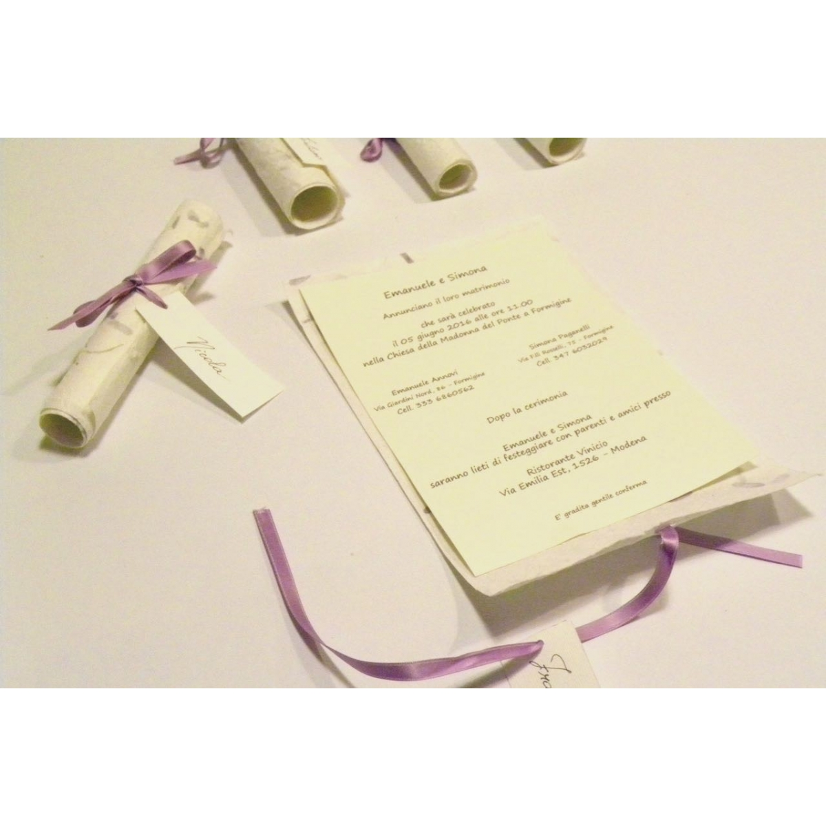 Wedding Invitation, Papyrus Paper Purple Provence, Ribbons Of Organza And  Satin. Silk Paper ...