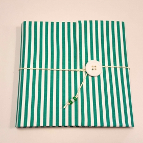 Photo album covered in cloth green and white striped with button closure and lanyard