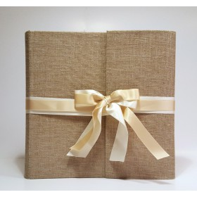 Photo album artisanal, coated canvas cheesemaker, with double long ribbon ivory satin light and dark