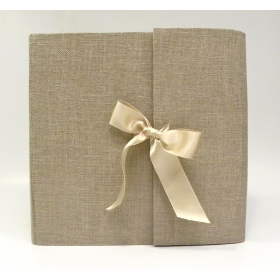 Photo album made with natural canvas of cheese maker with ivory satin bow