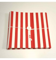 Photo album made with canvas red and white striped with button closure and lanyard