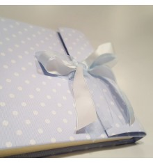 photo album to baptism, in fabric printed with polka dots light blue with double tape in white satin and organza