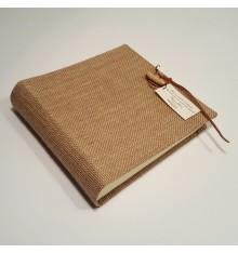 Photo album  pure raw linen canvas and wooden toggle closure