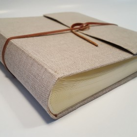 Photo albums covered with natural linen canvas
