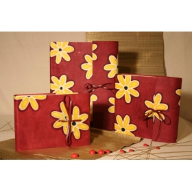 Photo album with flap made with paper Batik yellow daisy and leather strap