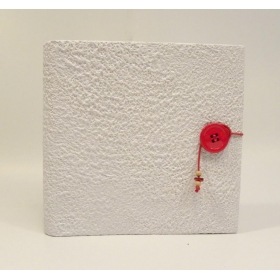 Photo album 23x23 made with moonrock white paper with red button closure and lanyard.