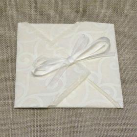 Participation origami paper provence green, organza and satin ribbons. Interior silk paper.