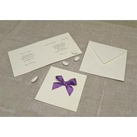 Partecipazione in carta di gelso con fiocco in raso lilla a Pois