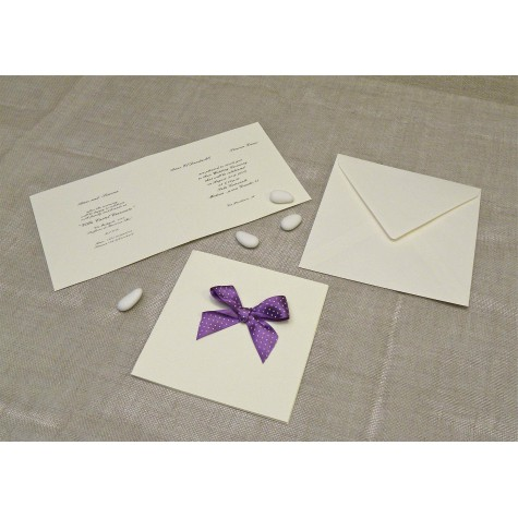 Wedding card in mulberry paper with satin bow lilac Pois