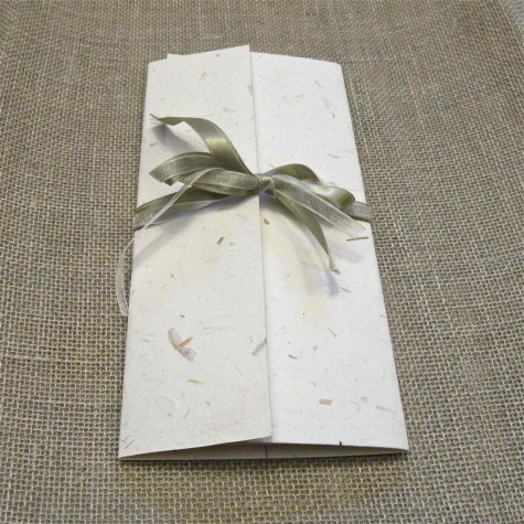 Participation booklet cross natural mulberry paper, organza and satin ribbons.