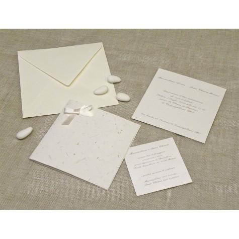 partecipazioni matrimonio in carta con inserti corteccia con fiocco in raso