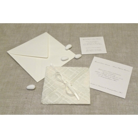 Wedding card in paper embroidery, closing ribbons organza and satin. Internal silk paper.