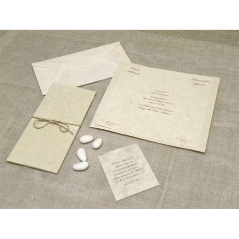 Wedding card paper mulberry natural, forming crisscross booklet.