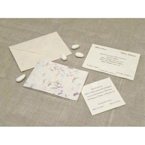 Partecipazione di nozze carta provenza. Interno in carta seta.