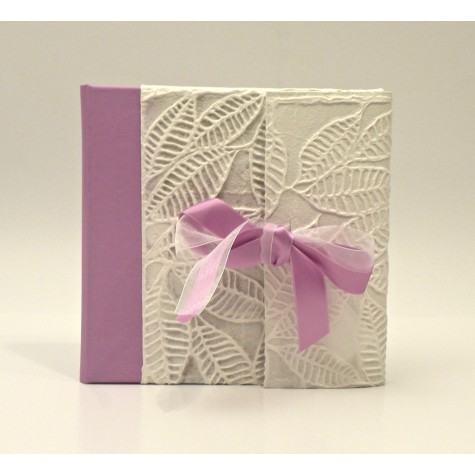 Traditional photo albums covered with paper with spirals, back covered with canvas Cialux pink and pink satin bow