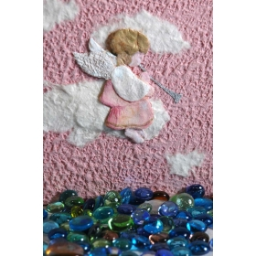Photo album angel babies covered in Moonrock pink paper and decorated pink angel collage.