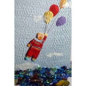 Album fotografico tradizionale decorato con collage orsetto e rivestito in carta Moonrock azzurra.
