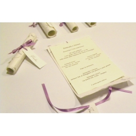 Wedding Invitation, papyrus paper purple provence, ribbons of organza and satin. silk paper inside