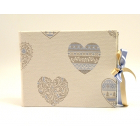 Photo album hearts, lined with hearts print fabric and satin ribbon closure