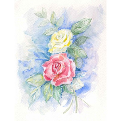 Decoration for wedding albums, roses watercolor
