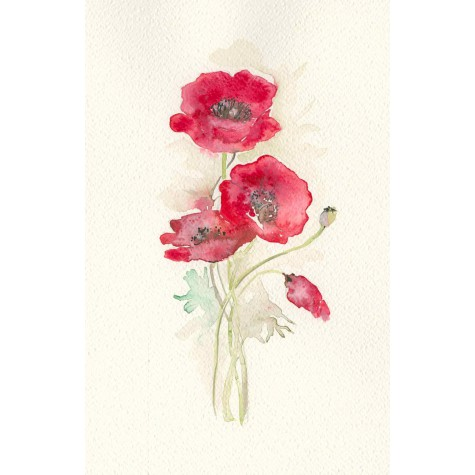Decoration wedding albums, red poppies watercolor