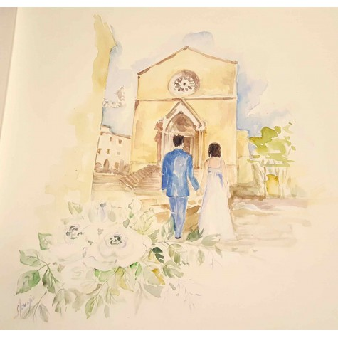 Decoration for wedding albums, wedding couple and church
