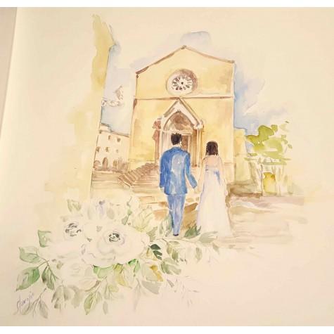 Decoro per album matrimonio, sposi e chiesa
