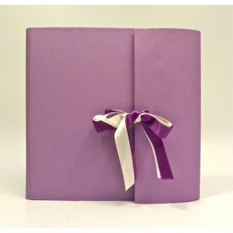 Photo album with flapmade with cialux wisteria canvas and double satin bow purple and white