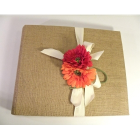 Photo album made with raw Jute canvas with removable floral application