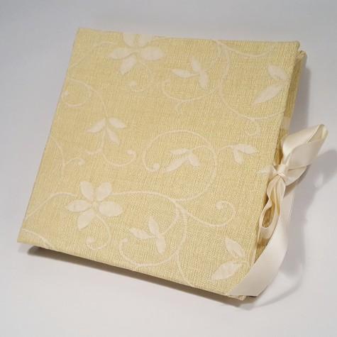 Album fotografico in tessuto damascato beige dorato