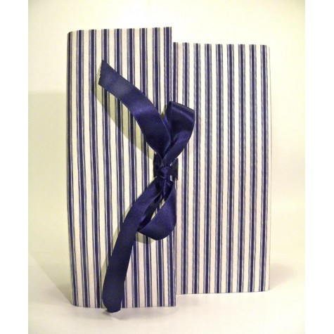 Photo album coated blue and white striped cotton canvas with satin ribbon