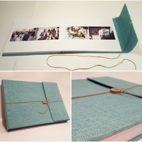 Wedding photobook green Jute Canvas
