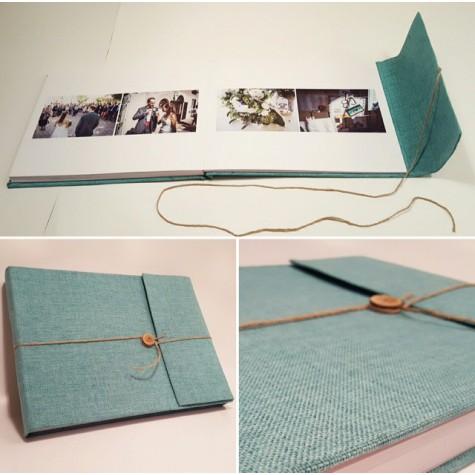 Wedding photobook green Jute Canvas