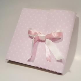 Album tradizionale rivestito in tela cotone rosa a pois