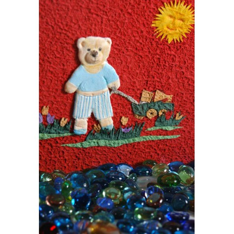 Photo album covered in red Moonrock paper, collage decorate with Teddy bear cart games