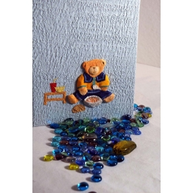Photo album covered of azure Moonrock paper, collage decorate with Teddy bear eating