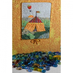 Photo Album, covered with paper yellow Moonrock splash and decorum circus collage.