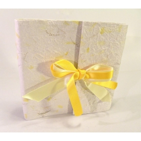 Photo album with flap made with provence Yellow card with yellow satin bow