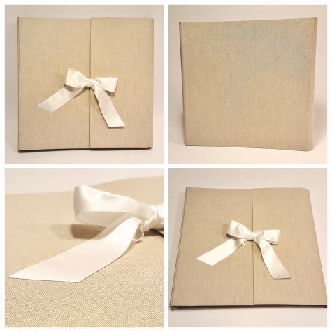 Photo album with flap made of natural canvas