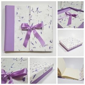 Album fotografico in carta Provenza lilla e dorso in tela