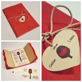 Wedding card, red locta and natural paper