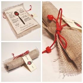 Partecipazione di nozze con tessuto Juta a pergamena