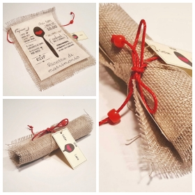 Wedding card, jute and paper