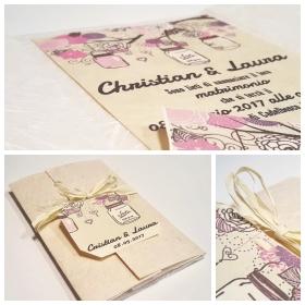 Partecipazione di nozze, carta seta e carta di gelso