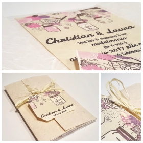 Wedding card, silk paper and mulberry paper