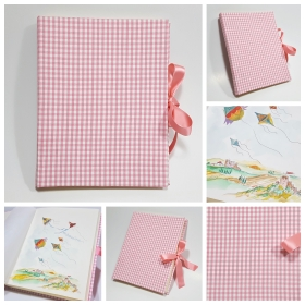 Albums of Pink cotton fabric and satin ribbon