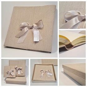 Album beige striped fabric