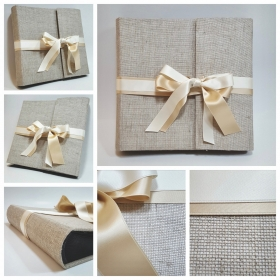 Traditional photo album, natural Casaro canvas with ivory satin ribbon